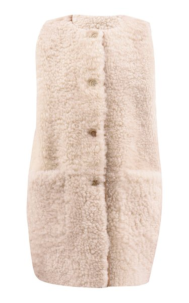 Long Reversible Shearling Vest