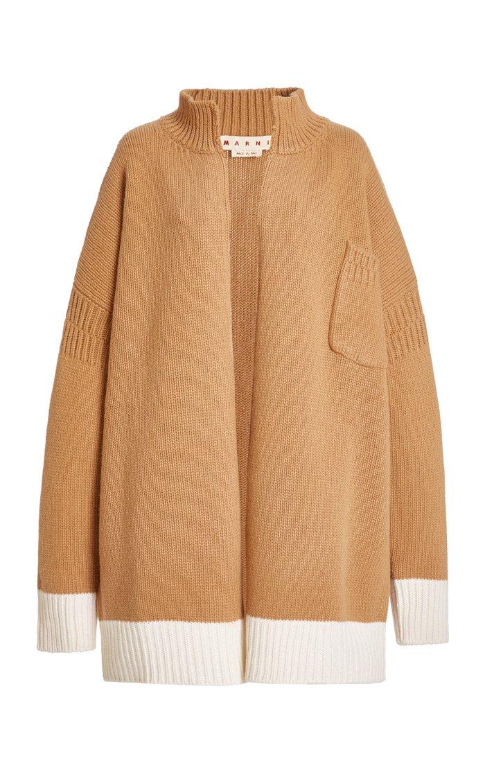 Oversized Knitted High-Neck Jacket