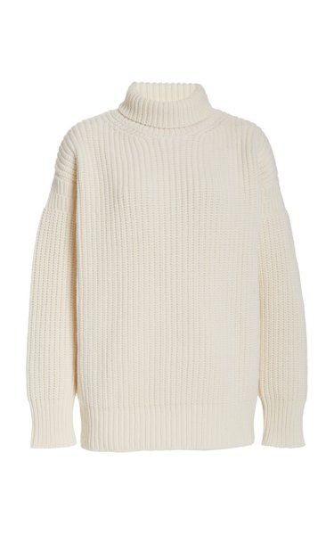 Oversized Rib-Knit Wool Turtleneck Sweater