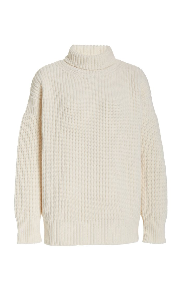 Oversized Rib-Knit Wool Turtleneck Sweater