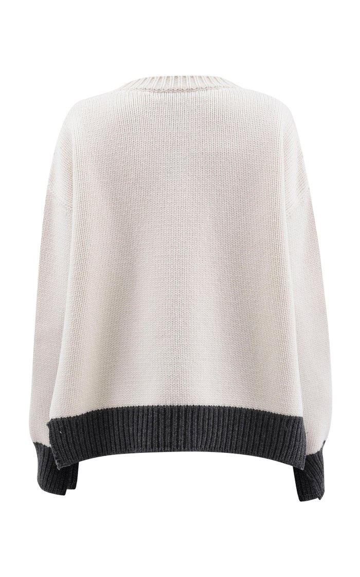 Oversized Split-Neck Wool Sweater