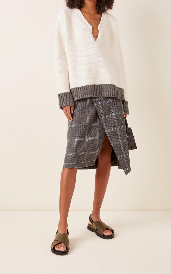 Oversized Split-Neck Wool Sweater
