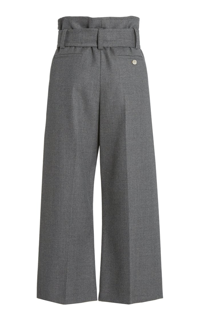 Belted High-Rise Cropped Wool Pants