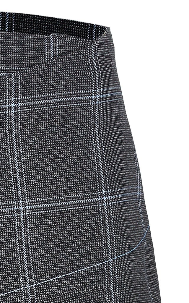 Plaid Asymmetric Wool Button-Front Skirt