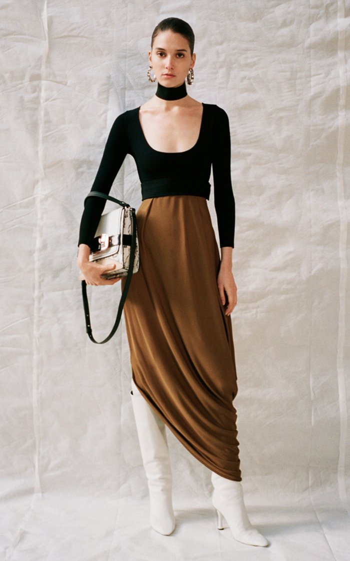 Belted Two-Tone Jersey Midi Dress