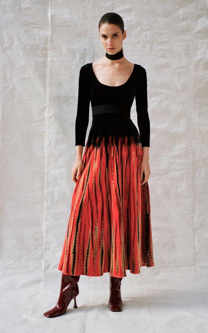 Belted Tie-Dyed Velvet Maxi Dress