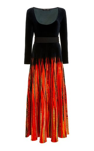 Belted Tie-Dyed Velvet Maxi Dress
