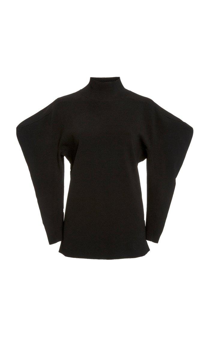 Puff-Sleeve Jacquard Turtleneck Sweater