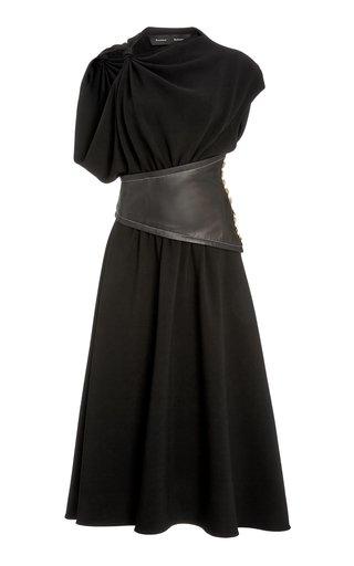 Leather-Detailed Asymmetric Crepe Midi Dress
