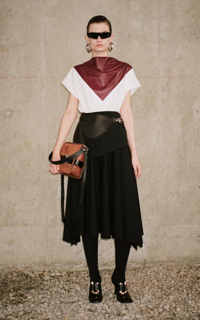 Button-Detailed Leather-Inset Crepe Top