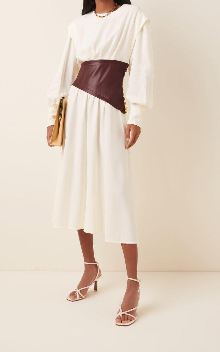 Leather-Detailed Crepe Midi Dress