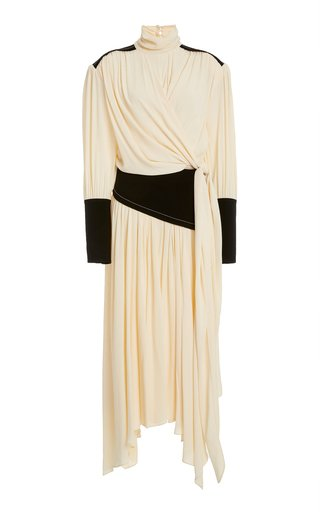 Draped Jersey Midi Wrap Dress