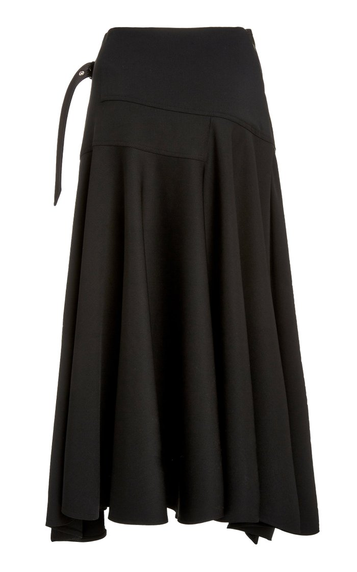 Leather-Detailed Wool Wrap Skirt
