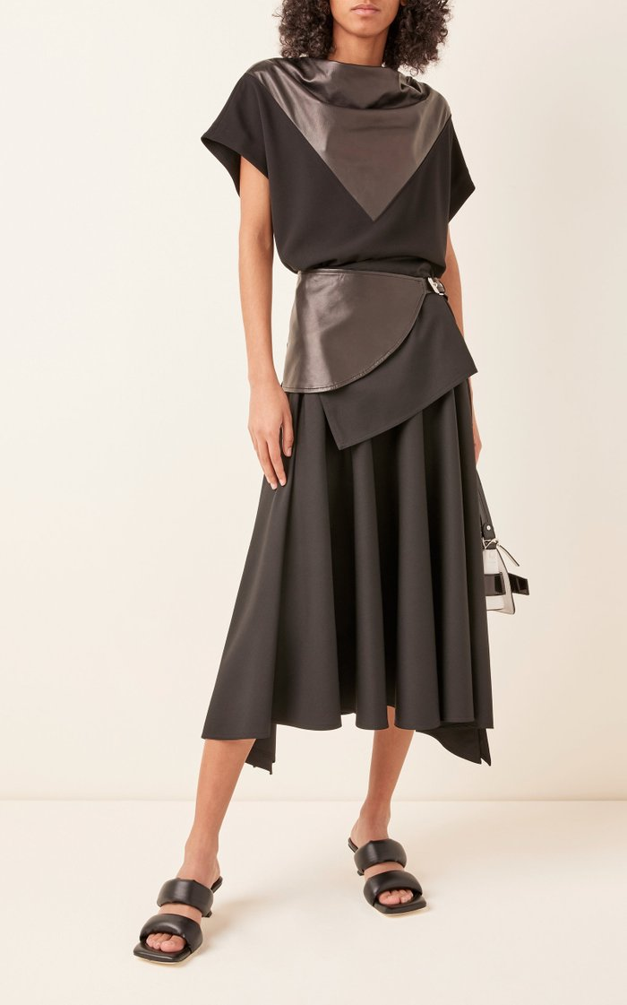 Leather-Inset Crepe Top