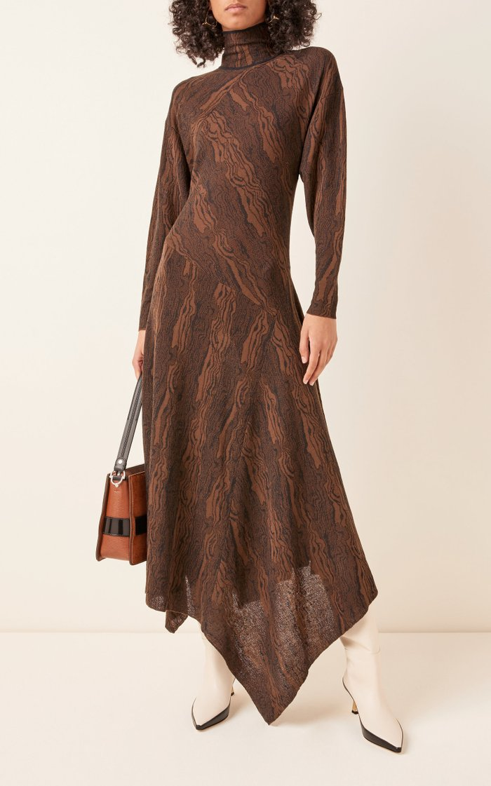 Asymmetric Jacquard Midi Dress