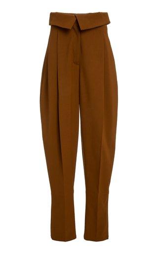 Waist-Detailed Pleated Wool Pants