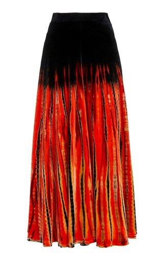 Tie-Dyed Velvet Maxi Skirt