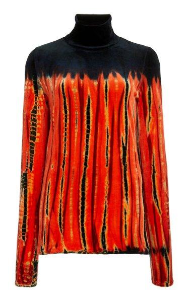 Tie-Dyed Velvet Turtleneck Top