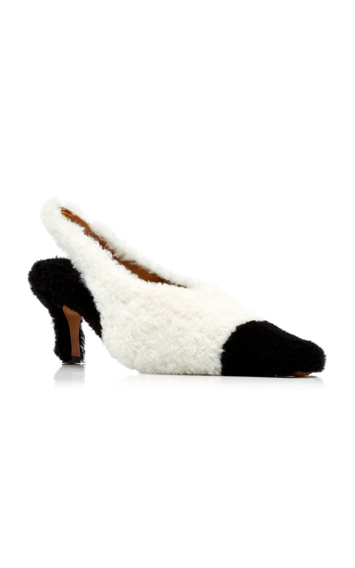Two-Tone Shearling Pointed Toe Pumps