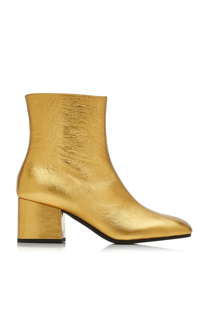 Metallic Leather Ankle Boots