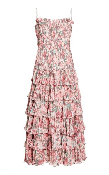 Viola Floral-Print Tiered Crepe Dress