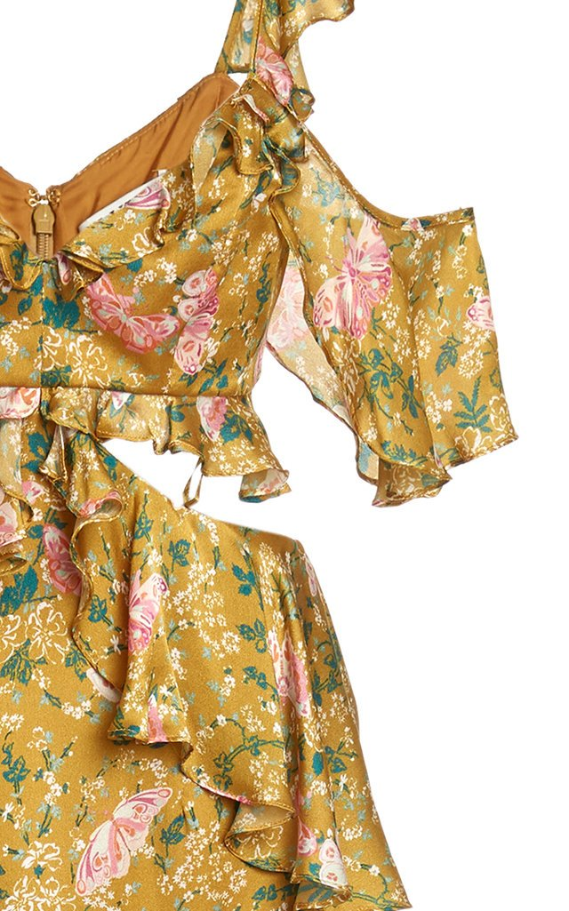 Priscilla Floral Tiered Satin Maxi Dress