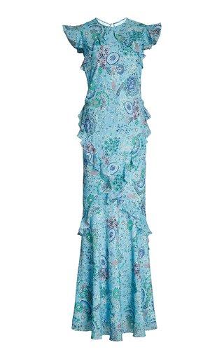 Tamara Ruffled Printed Silk-Chiffon Maxi Dress