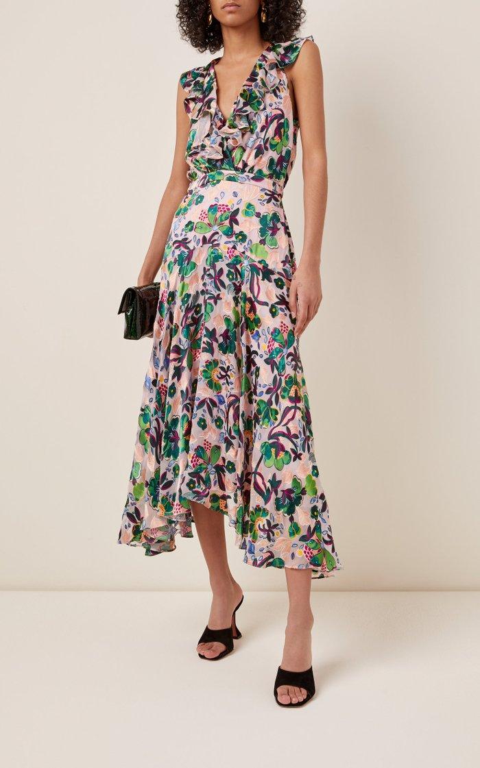 Rita Printed Chiffon Midi Dress