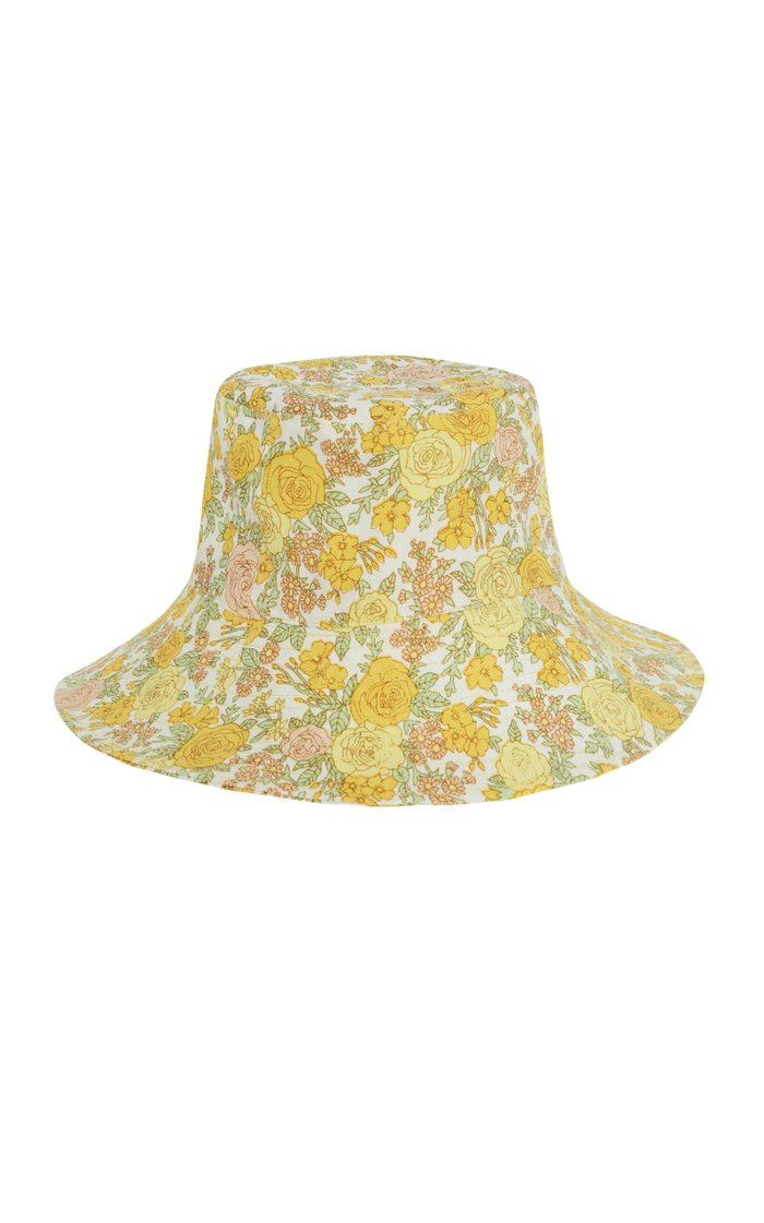 Bettina Flora-Print Linen Bucket Hat