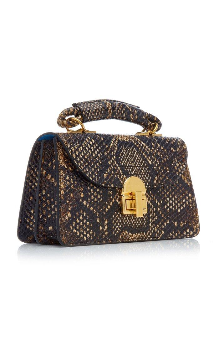 Juliette Small Python-Print Leather Top Handle Bag