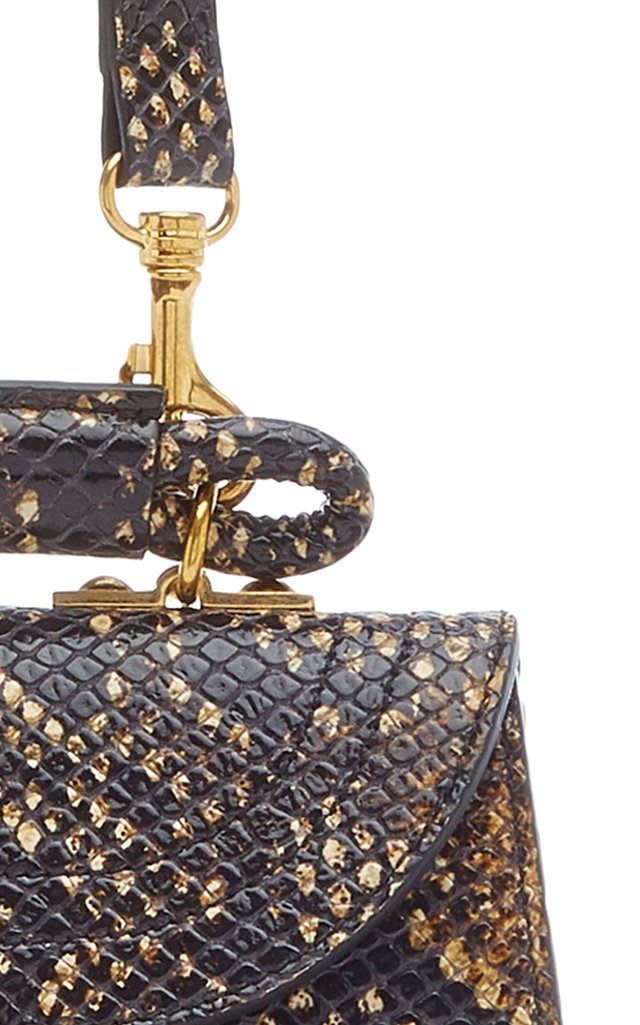 Juliette Small Python-Print Leather Top Handle Bag