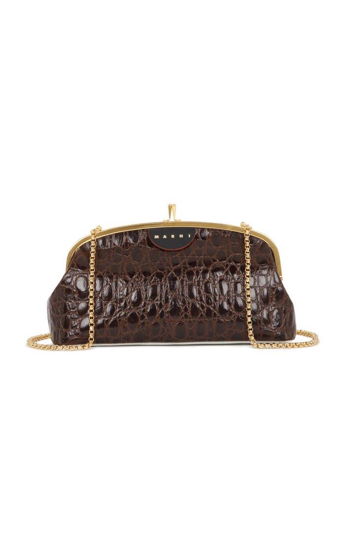 Cindy Croc-Embossed Leather Crossbody Bag