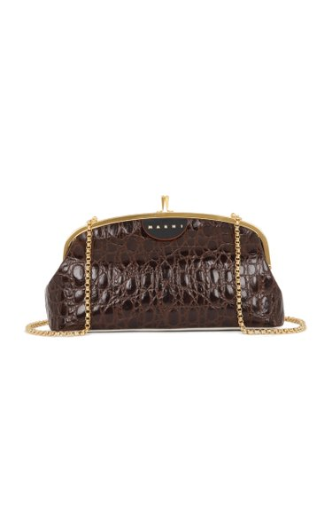 Cindy Croc-Embossed Leather Crossbody Bag