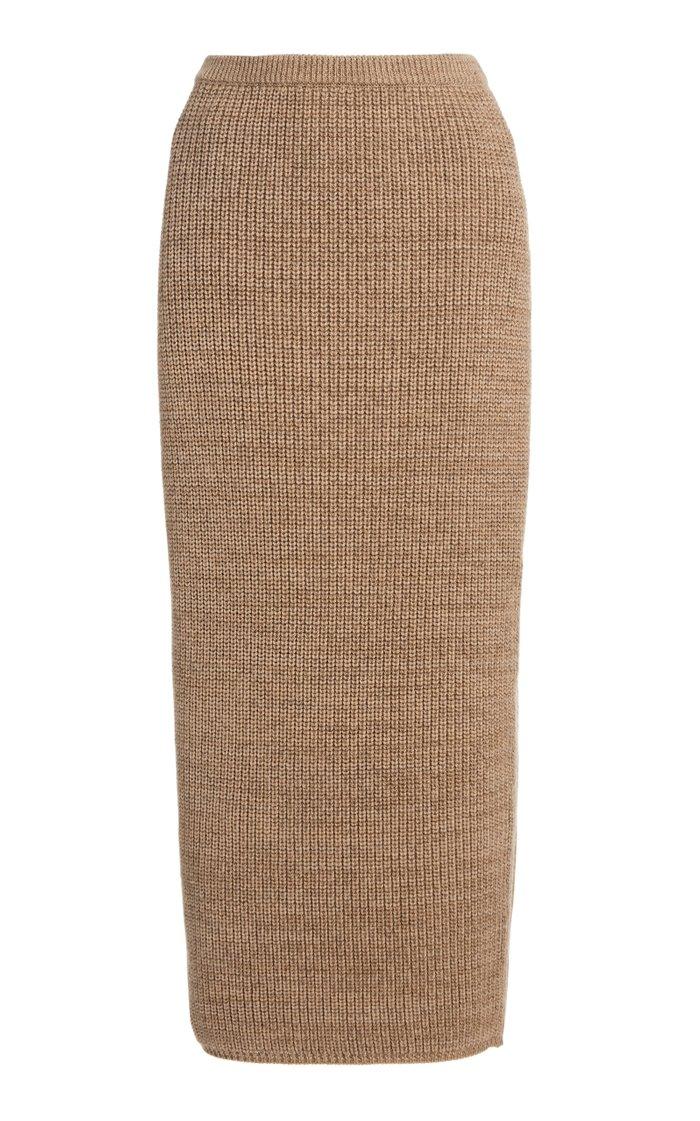 Wool-Blend Knit Pencil Skirt