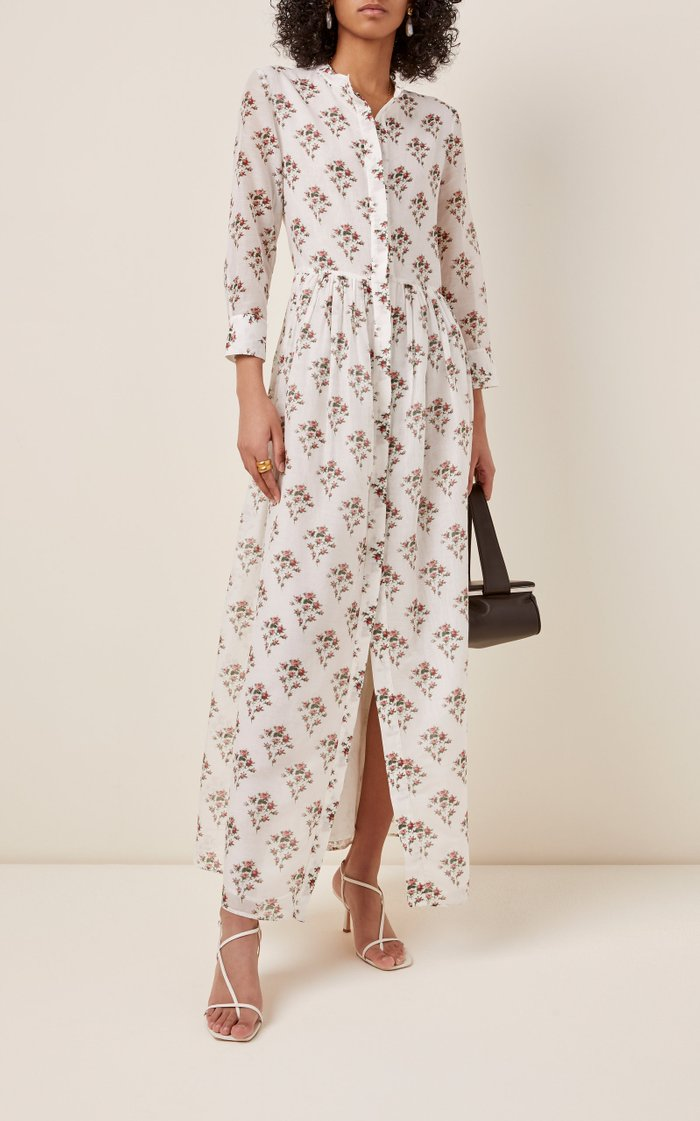 Floral-Print Cotton-Silk Dress