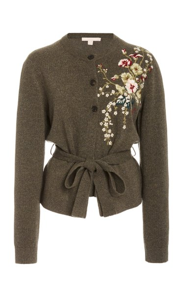 Embroidered Wool-Cashmere Cardigan