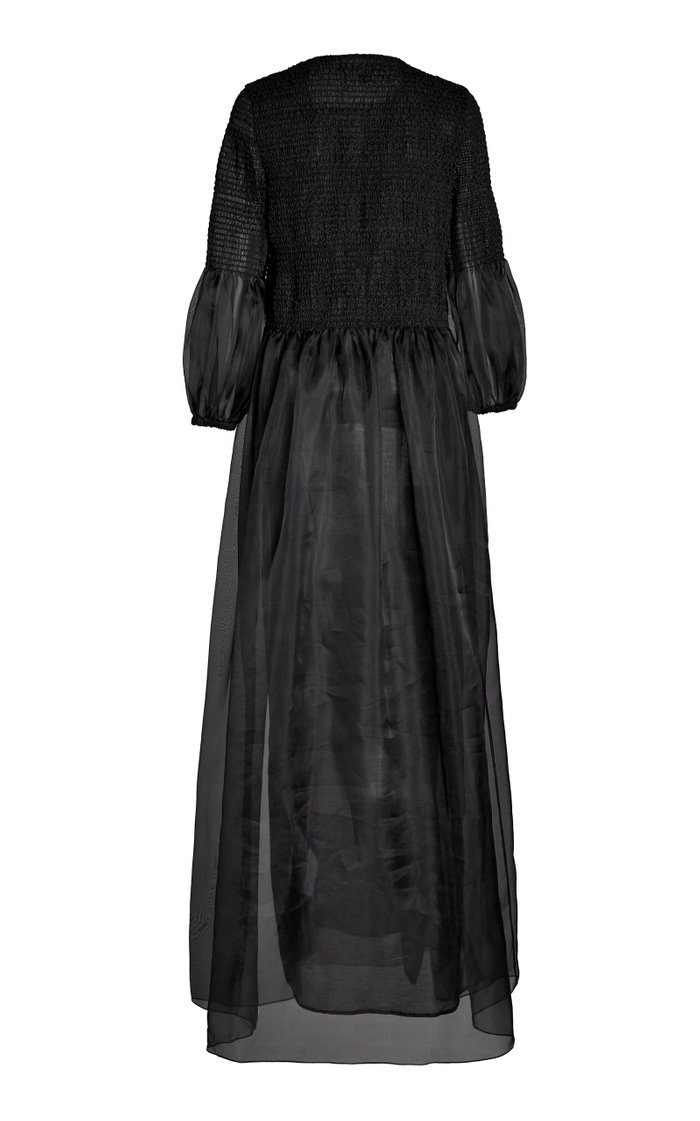 Ruched Silk Maxi Dress