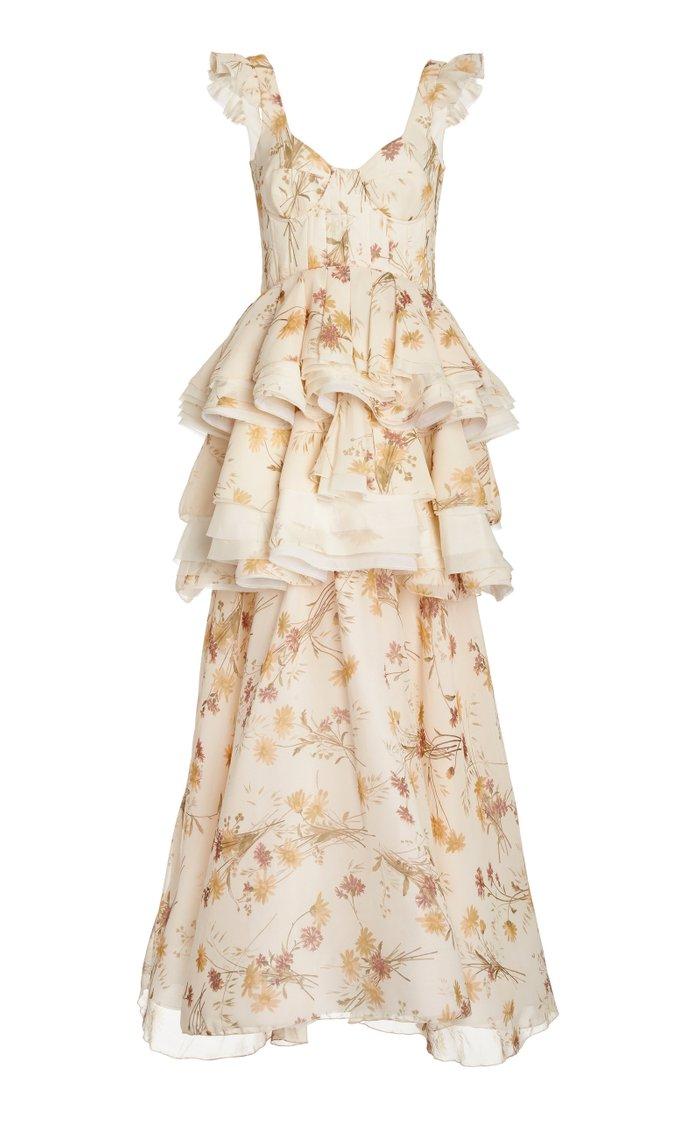 Floral-Print Ruffled Silk Dress