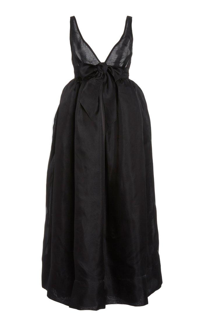 Bow-Embellished Silk-Taffeta Maxi Dress