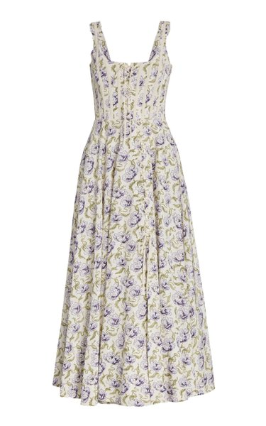 Floral-Print Cotton-Blend Maxi Dress