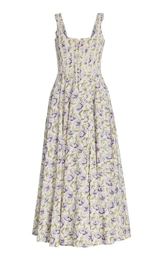 Floral-Print Cotton-Blend Maxi Dress