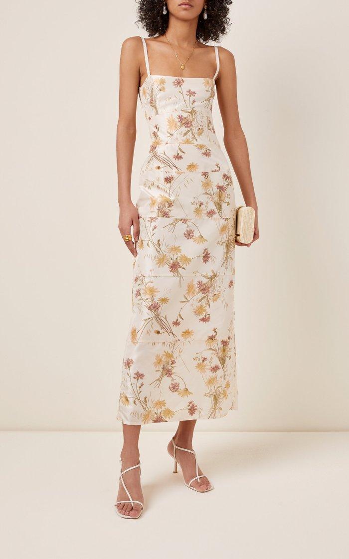 Floral-Print Silk Square Neck Dress