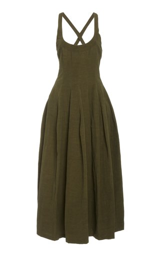 Pleated Linen Midi Dress