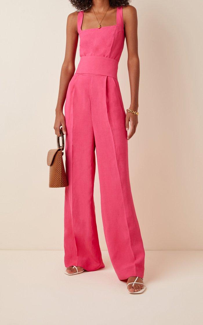 Gloria Tie-Detail Linen-Jersey Jumpsuit