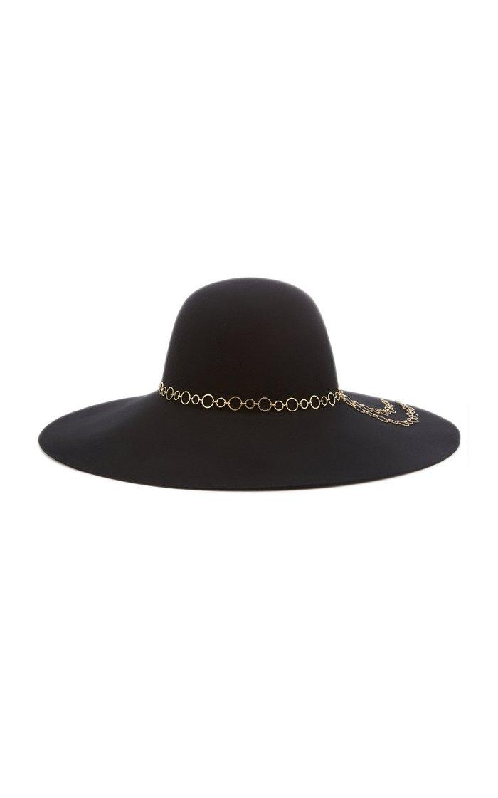Bunny Chain-Embellished Wool Felt Hat