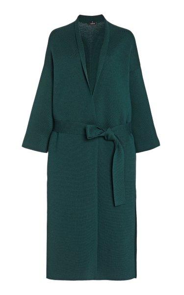 Belted Wool-Silk Wrap Coat