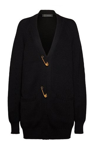 Oversized Safety Pin Wool Cardigan