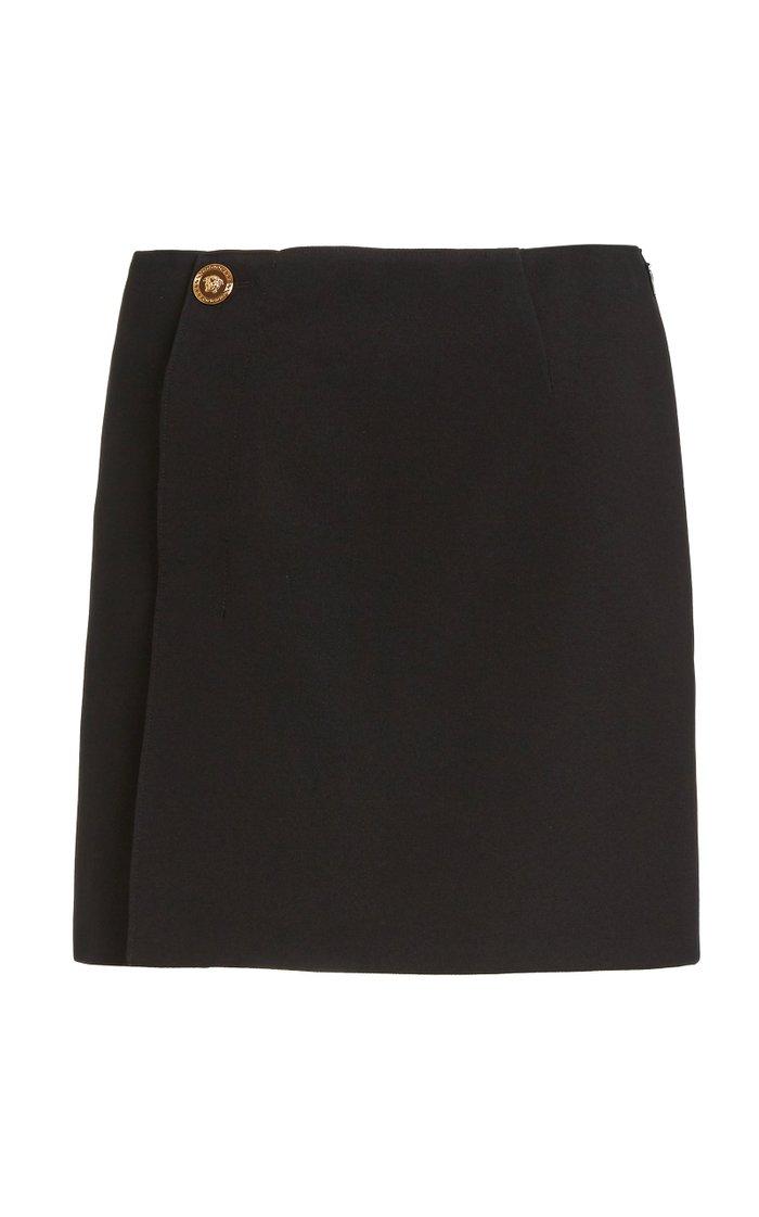 3-Button Crepe Mini Skirt