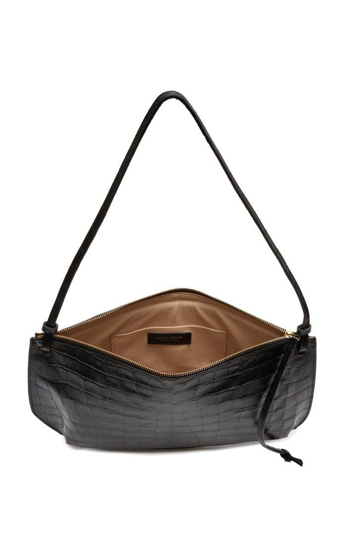 Pebble Large Croc-Embossed Leather Shoulder Bag