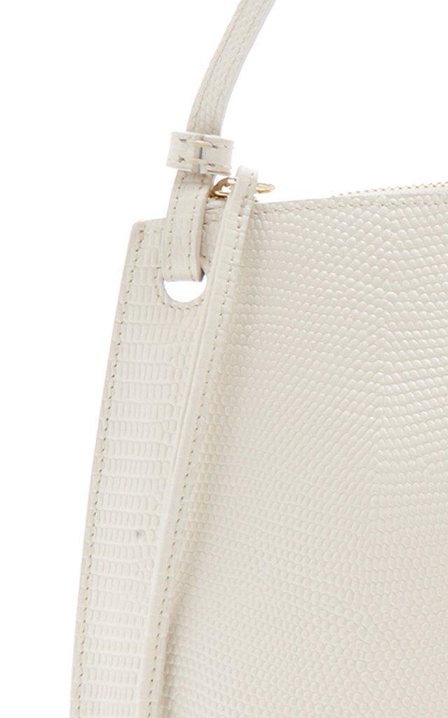 Pebble Large Lizard-Embossed Leather Shoulder Bag